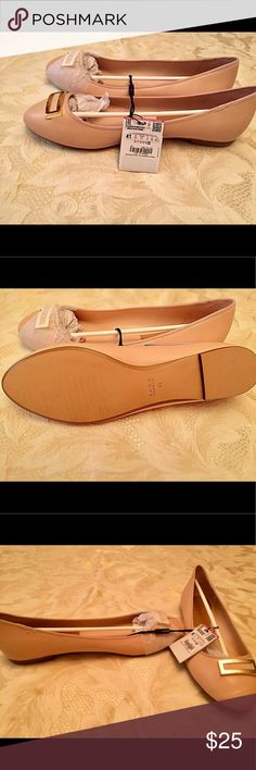 🆕💞ZARA Trafaluc pinkish nude flats Flats (BRAND NEW)-perfect spring pinkish nude flats with gold plated embellishment at the top. Great for work or hanging out with friends. Zara Shoes Flats & Loafers