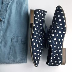 Polka Dot Canvas Oxfords Menswear chic with a feminine touch. Textured canvas in allover polka dot print, rounded toe, lace-up placket, padded footbed, and stacked heel with rubber sole. Worn once, excellent condition. True to size. Dark navy blue with white polka dots. GAP Shoes Flats & Loafers