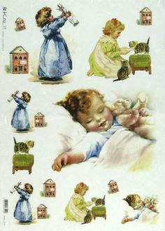 Ricepaper/ Decoupage,Craft Paper, Scrapbooking Sheets Vintage Little Girl 0031