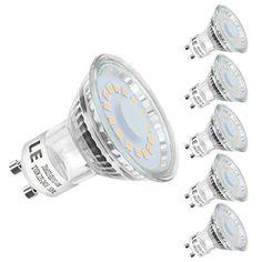 LE Ampoule LED GU10 4W (=50W Ampoule Halogène), MR16 350lm, Blanc Chaud, 2700K, 120° Larges Faisceaux, Culot GU10, Lot de 5 unités: ✓…