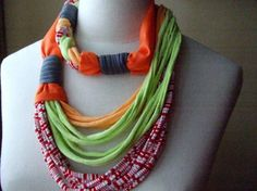 Necklace, BRAIDED - t-shirt yarn, recycled yarn, necklace in striped red/white, orange, apple green and gray colors