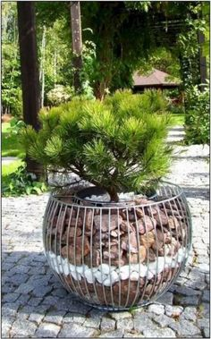 cool diy garden globes make your garden more interesting 9 Garden Yard Ideas, Diy Garden Decor, Garden Projects, Garden Art, Garden Design, Stone Planters, Garden Planters, Landscaping With Rocks, Backyard Landscaping