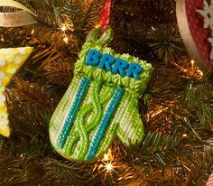 Ceramic Mitten Ornament with Collage Clay - see how to make this ornament with Mod Podge Collage Clay and Mod Melts