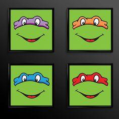 TMNT Teenage Mutant Ninja Turtle Print Set of 4 - Mikey Leo Raph Donatello- Nursery - classic - 1988 Print - Set of Four Nursery Prints (09)...