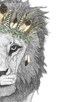 Leo the Lion with Luxe Feather Crown - Dots by Donna Lion Couple, Feather Crown, Stippling Art, Butterfly Drawing, Leo Lion, Watercolor Images, Lion Art, Handmade Frames, Drawing Techniques