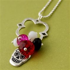 Sugar Skull Charm Necklace in Red and Pink