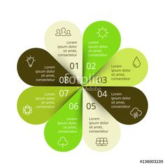Vettoriale: Vector circle arrows green leaves eco infographic. Ecology diagram, graph, presentation, chart. Organic nature concept with 8 options, parts, steps.