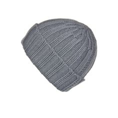 Fold-Over Ribbed Grey Cashmere Hat
