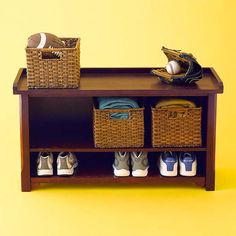 We love this entryway bench with low-clearance shelving for shoes and room for handy baskets. | From Wayfair.com. Photo: Andrew McCaul | thisoldhouse.com