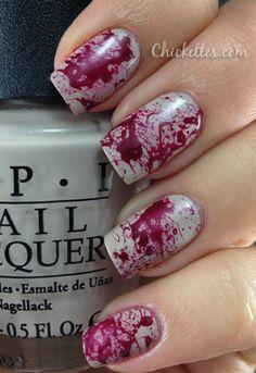 Blood Splatter Nails for Halloween, kinda creepy but kinda cool at the same time.