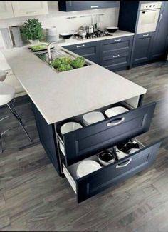 Home Decor Kitchen, Diy Kitchen, Kitchen And Bath, Home Kitchens, Kitchen Storage, Kitchen Small, Smart Kitchen, Kitchen Drawers, Kitchen Organization