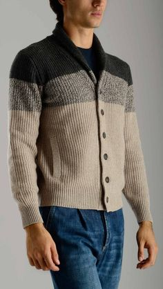 Brunello Cucinelli - Shawl collar bicoloured cashmere cardigan