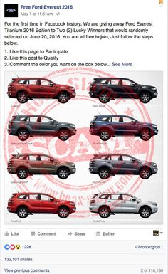 'Free Ford Everest' Giveaway Facebook Page is a Scam