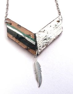 Chevron  Handpainted Silverleaf Necklace - Authentic Native Made by NativeCraftCanada on Etsy