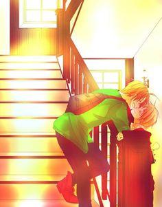 USUK stairs kiss, I kinda love this! but I also kinda wish it was PruHun~