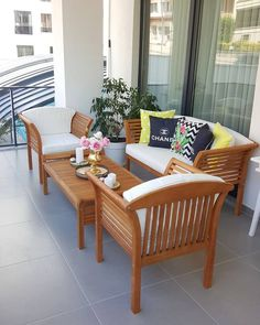 Balkon, Balkon oturma grubu, Koçtaş We think that tattooing can be quite a method that's been used since the full … Balcony Furniture, Outdoor Furniture Sets, Outdoor Decor, Interior Modern, Interior Design Living Room, Sala Set, Wooden Sofa Designs, Balcony Design, New Homes