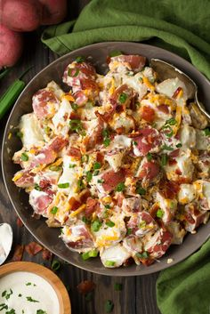 Cheddar Bacon Ranch Potato Salad: 5 ingredient potato salad that's packed with flavor and so easy to make! Perfect spring and summer side dish. Love this combination! Salad Recipes With Bacon, Potato Salad Recipe Easy, Potato Salad With Egg, Easy Salad Recipes, Healthy Recipes, Soup Recipes, Loaded Baked Potato Salad, Potato Recipes, Drink Recipes