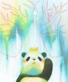 water color panda princess ...BTW,Please Check this out: http://artcaffeine.imobileappsys.com