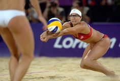 Best Of London: Day 12 - Misty May-Treanor controls the ball during the women's Beach Volleyball final match against April Ross and Jennifer Kessy