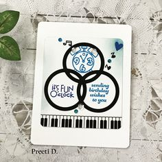 Masculine CAS card- Musical Birthday #papersmooches #stamping #stamps #cleanandsimple #masculine #cardmaker #crafting #craft #art #male #clock #birthday #music #piano #greetingcard #inks #blog #blogger #sizzix
