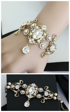 Gold Bridal Bracelet Vintage Style Wedding Cuff by LuluSplendor O.O...its so...so shinny.....