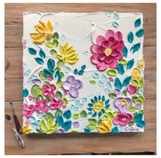 3d Painting On Canvas, Simple Canvas Paintings, Mini Canvas Art, Knife Painting, Easy Flower Painting, Acrylic Painting Flowers, Flower Art, Flowers On Canvas, Oil Painting Texture