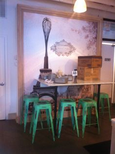 Tolix bar stools at Sweet Paris Creperie & Cafe in Houston (Rice Village)