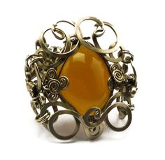 Wire Wrapped Braided Bracelet with Yellow Onyx stone by Hyppiechic, $58.00
