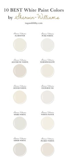 10 Best White Paint Colors by Sherwin-Williams — Tag & Tibby Design - 10 Best White Paint Colors by Sherwin-Williams — Tag & Tibby Design Estás en el lugar correcto pa - Off White Paint Colors, Cream Paint Colors, White Wall Paint, Off White Paints, Best White Paint, Wall Paint Colors, Exterior Paint Colors, Paint Colors For Home, House Colors