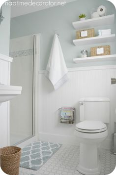 Sherwin Williams Rainwashed Bathroom Paint Color + floor