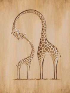 """Safari Kisses - Giraffe"" wall decor for children by Sarah Lowe for Oopsy Daisy, Fine Art For Kids $59"