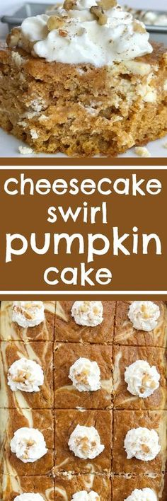 Cheesecake swirl pumpkin cake is a moist and flavorful pumpkin cake loaded with warm pumpkin spices and has a sweet cheesecake swirl. Garnish with whipped cream and chopped pecans for a delicious pumpkin dessert recipe | www.togetherasfamily.com #pumpkin #pumpkincake #dessert #recipe