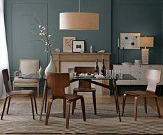 design salle à manger moderne plancher-chaises-bois-table-verre