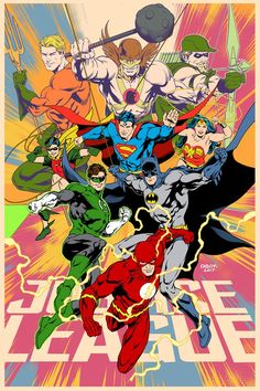 Justice League poster for his son's room by Jason Fabok