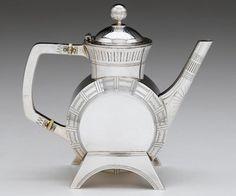 Rare Victorian teapot, designed by Christopher Dresser for Elkington and Co., Birmingham, 1885-86