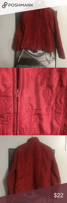 Light weight jacket! Red patterned stitched fabric. Zip up. Good condition. If interested but would like more photos or have questions please comment! Thanks! Coldwater Creek Jackets & Coats