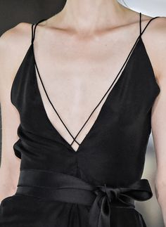 Chic black dress with dainty straps; fashion details // Amanda Wakeley Spring 2016