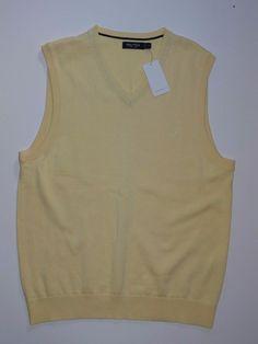 Nautica Men's Sleeveless V-Neck Yellow 100% Cotton Sweater Size: M #Nautica #VNeck