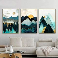 Mountain Sun Abstract Geometric Mountain Poster Minimalist Wall Picture Home Living Room Wall Art 3 piece wall art Geometric Wall Paint, Geometric Painting, Abstract Wall Art, Canvas Wall Art, 3 Canvas Painting Ideas, 3 Piece Painting, Painted Wall Art, Painting On Wall, Canvas Picture Walls