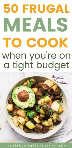 When money is tight it can be hard to find healthy frugal meals to cook for your family.  Discover 50 frugal meals to cook when you are broke.  These budget meals are easy and yummy.  A collection of cheap meals to cook for your family. #budgetmeals #cheapmeals #cheapdinners #frugalmeals #frugaldinners Cheap Meals To Cook, Dirt Cheap Meals, Inexpensive Meals, Fast Easy Meals, Cheap Dinners, Easy Weeknight Meals, No Cook Meals, Budget Freezer Meals, Frugal Meals