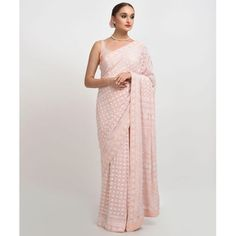 An exquisite fusion of hand embroidered Chikankari and intricate gold gota patti work, this nude pink pure georgette saree exudes ethereal beauty. The saree has intricate chikankari floral and paisley jaal all over, embellished with gold gota patti wor Western Dresses, Indian Dresses, Indian Outfits, Indian Clothes, Designer Dress For Men, Designer Dresses, Designer Wear, Pure Georgette Sarees, Cotton Saree
