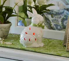 Ceramic Animal with Flameless Candle and Bow by Home Reflections