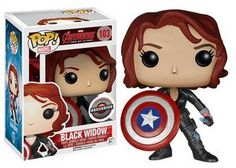 Buy Marvel Avengers: Age of Ultron Black Widow with Cap's Shield Limited Edition Funko Pop! Vinyl from Pop In A Box UK, the home of Funko Pop Vinyl subscriptions and more. Funko Pop Marvel, Marvel Avengers, Lego Marvel, Funk Pop, Funko Pop Figures, Pop Vinyl Figures, Toy Art, Capitan America Marvel, Captain America