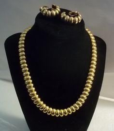Avon Gold Toned Necklace & Clip Earrings  #Avon