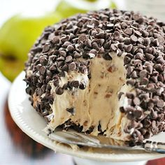 This Peanut Butter Crunch Cheese Ball is filled with peanut butter, chocolate covered toffee, and covered in mini chocolate chips. Yum!