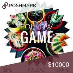 Follow game! I love follow games!! 🙌🏻💋 Let's grow together! 💚Like, share and then follow everyone who liked this post! Help spread the posh love! Happy poshing! 💋 Follow game Other