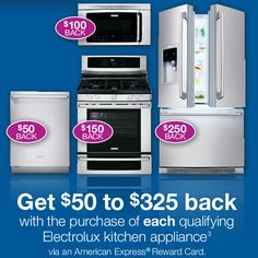 Get up to $325 back on an Electrolux appliance at Parr Cabinet American Express Rewards, Kitchen Gadgets, Kitchen Appliances, Appliance Sale, Going To Work, Rustic Farmhouse, Cabinet, Diy Kitchen Appliances, Clothes Stand