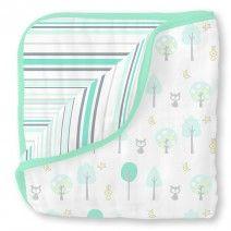 Muslin Luxe Blanket - Green Woodland by SwaddleDesigns  #WomanOwnedBusiness #Momtrepreneur #Baby #NeutralNursery #Mint #Foxes