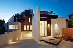modernes wohnhaus melbourne australien fassade holz beleuchtung