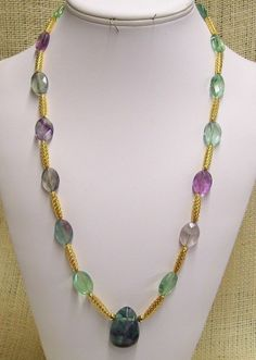 Necklace Handmade with Rainbow Fluorite and Gold Plate Open Weave Tube Beads